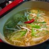 塩豚ゆでスープをカムジャタン風に