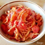 トマト缶で☆ベーコンとキノコのトマトパスタ♬