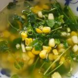 コーンと豆苗のしょうがスープ(^^)