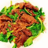 時短、簡単夕食♪牛肉とほうれん草の甘辛炒め