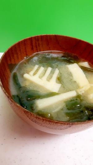 簡単ヘルシー!味噌汁習慣(^^)ワカメ+竹の子♪