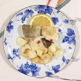 真鱈とユリの根の炒め物