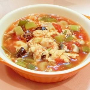 椎茸と長葱のトマト卵スープ