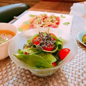 サラダほうれん草とミニトマトの塩昆布サラダ