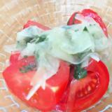 新玉ねぎと大葉とトマトのマリネ