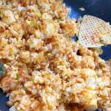 新玉ねぎ入りキムチ納豆炒飯