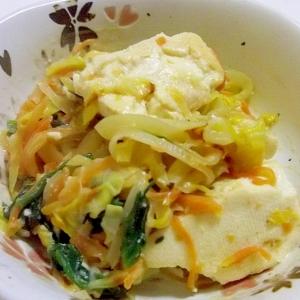 豆腐と千切り野菜のみそマヨ炒め