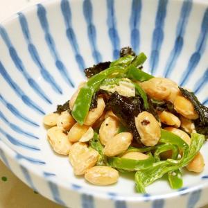 大豆とピーマンの海苔マヨネーズ和え♪