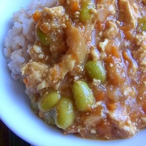 レンジで枝豆と豆腐のカレー