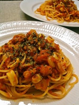 冷凍シーフードミックスで簡単トマトスパゲッティ♪