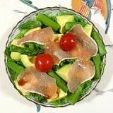 わさび菜とアスパラのおつまみサラダ
