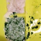 ある日の離乳食中期!シラス粥とほうれん草ヨーグルト