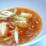 にんにくたっぷり!豆腐と春雨のスープ