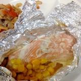コンベクションオーブンで鮭のホイル焼き