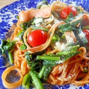 ハムと芽かき菜(かき菜)のパスタ