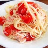 トマトと蟹の冷製パスタ
