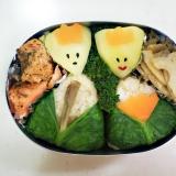 幼稚園弁当<保温>対策㉗…まいたけご飯のお雛様
