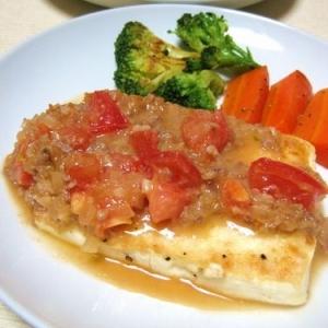 豆腐ステーキ☆トマト肉味噌だれ