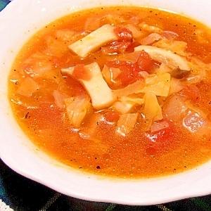 エリンギとキャベツのトマトスープ