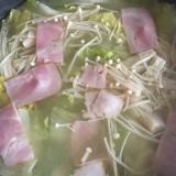ごま油風味!白菜とベーコンの味噌鍋