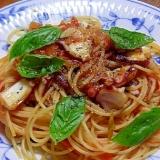 香りいい たこと生バジルのトマトソーススパゲティー