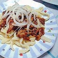 赤味噌で作る肉味噌うどん