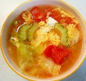 夏の旬野菜!ゴーヤのトマトスープ