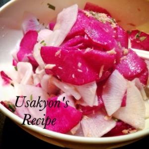紅くるり大根とシーチキンの塩もみサラダ