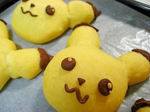 かぼちゃ の生地で ピカチュウ☆パン(あんぱん)