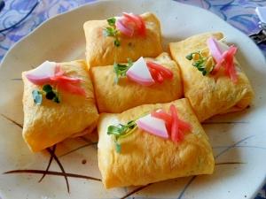 リメイク煮物~ちらし寿司で薄焼き卵包み
