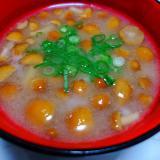 山芋とナメコの味噌汁