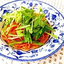 水菜たっぷりのせ!トマトソースパスタ