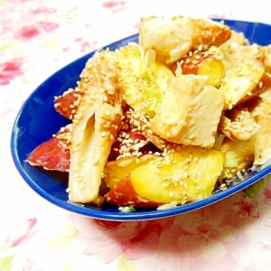 ❤薩摩芋と竹輪と厚揚げのガリマヨ・オイスター炒め❤