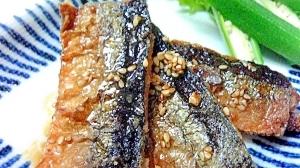 秋刀魚の揚げ焼き 胡麻醤油ドレッシングかけ