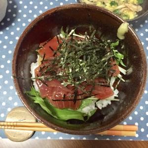 水菜でさっぱり☆漬けマグロ丼♫