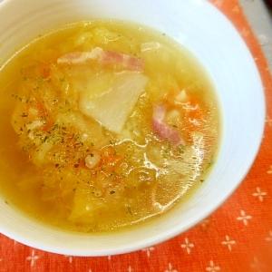 圧力鍋で簡単~ベーコンと野菜のカレーコンソメスープ