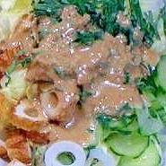 ちくわとキャベツとキュウリの味噌サラダ