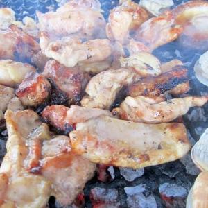 BBQに鶏の照り焼き