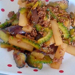 茄子、ゴーヤ、大根、ひき肉の簡単焼肉のタレ炒め