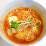 粉末とうがらしから作る☆えのきとキャベツの豆腐チゲ