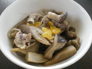 エリンギとゴボウと豚肉の炒め煮