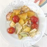 じゃが芋、キャベツ、ミニトマトの炒め物