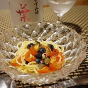 ブルーベリーとトマトの和風冷製パスタ