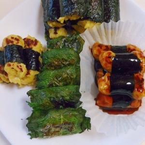 鶏挽肉で磯辺焼き&紫蘇巻きバーグ~お弁当にも~