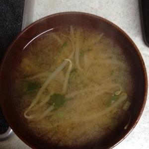 もやしとかぶの葉の味噌汁