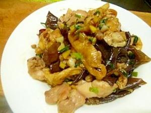 鶏ももときくらげと油揚げのピリ辛炒め