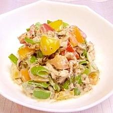 簡単☆美味しい♪ピーマンとツナマヨのカラフルサラダ