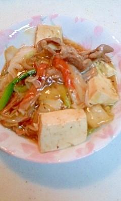 カニかまと白菜・豆腐の中華煮