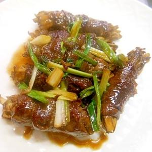 干し舞茸で牛薄切肉のロール巻ソテー