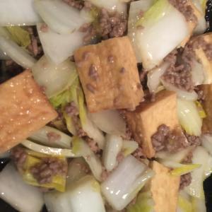 白菜、ひき肉、厚揚げのお酢あんかけ